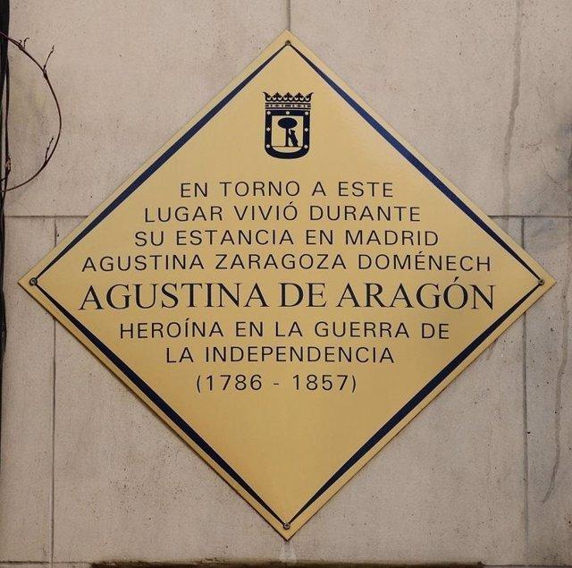 Placa Agustina de Aragón.