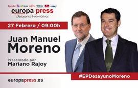 Juan Manuel Moreno y Mariano Rajoy participan este lunes 27 de febrero en los Desayunos Informativos de Europa Press