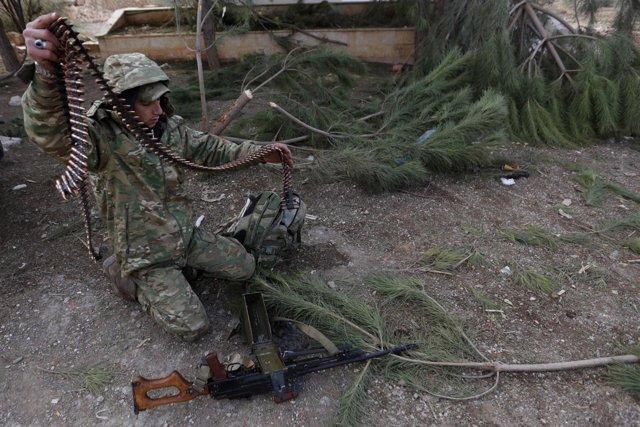 Un miliciano del Ejército Libre Sirio en Al Bab