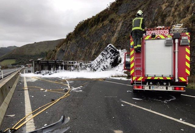 Imagen del accidente tomada por la DYA