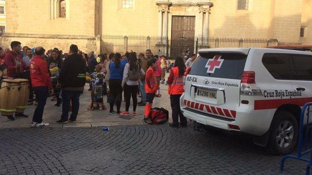 Efectivos de Cruz Roja en el dispositivo del Carnaval de Badajoz