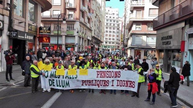 Manifestación de Marchas de la Dignidad en defensa de las pensiones