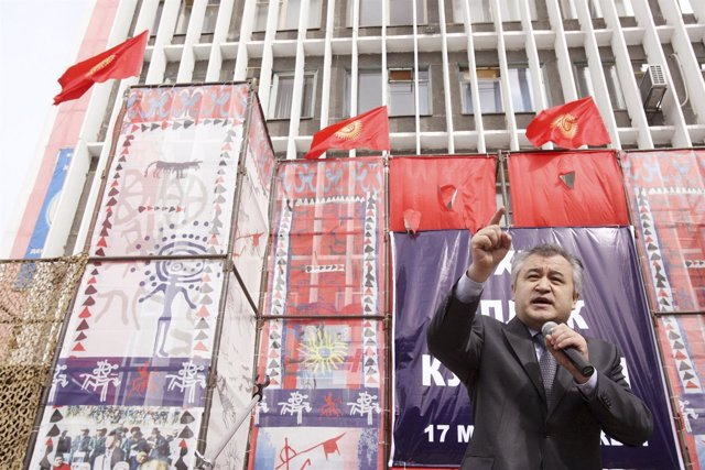 An opposition leader Omurbek Tekebayev delivers a speech during an anti-governme