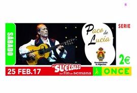 El cupón de la ONCE dedicado a Paco de Lucía reparte 560.000 euros en premios entre Cádiz, Córdoba, Granada y Málaga
