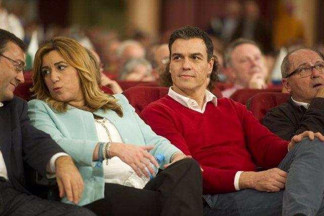 Susana Díaz y Pedro Sánchez en un mitin en Torremolinos
