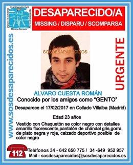 Imagen del cartel de alerta del joven desaparecido