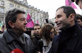 Hamon y Mélenchon reafirman sus candidaturas tras una reunión