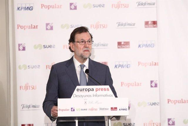 Mariano Rajoy en los Desayunos de Europa Press