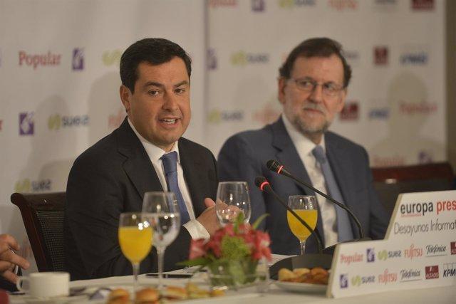 Juanma Moreno, hoy junto a Mariano Rajoy en los Desayunos de Europa Press