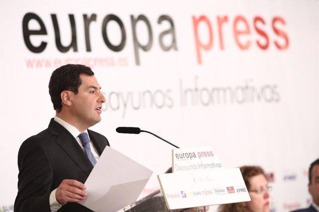 Juan Manuel Moreno en los Desayunos de Europa Press