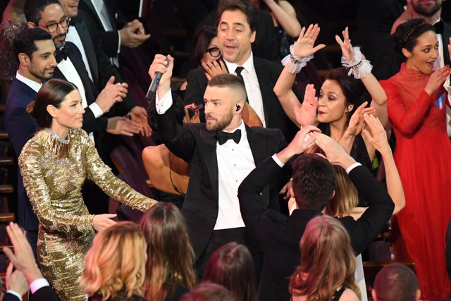 Feb 26, 2017; Hollywood, CA, USA; Justin Timberlake performs near his wife Jessi