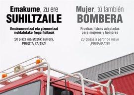 Ayuntamiento de San Sebastián pone en marcha una campaña para animar a las mujeres a presentarse a la OPE de Bomberos