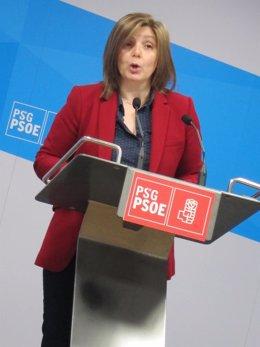 La presidenta de la gestora del PSdeG, Pilar Cancela, en la rueda de prensa