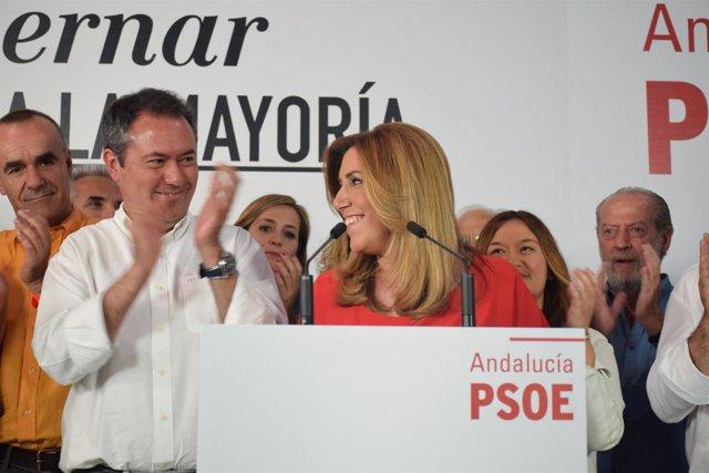 Susana Díaz y Juan Espadas, tras los resultados del 24M.