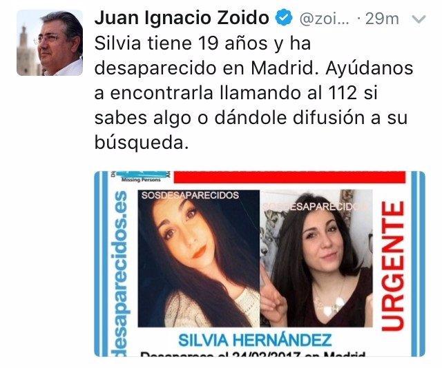 Mensaje publicado por el ministro Zoido en su perfil de Twitter