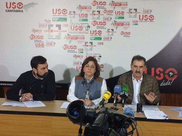 Sindicalistas de USO en rueda de prensa