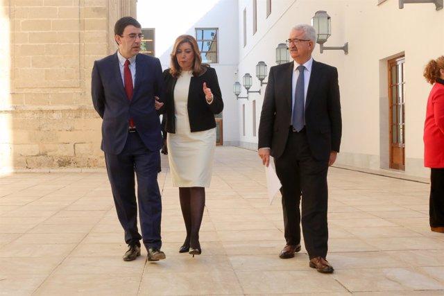Mario Jiménez, Susana Díaz y Manuel Jiménez Barrios, en los actos del 28F