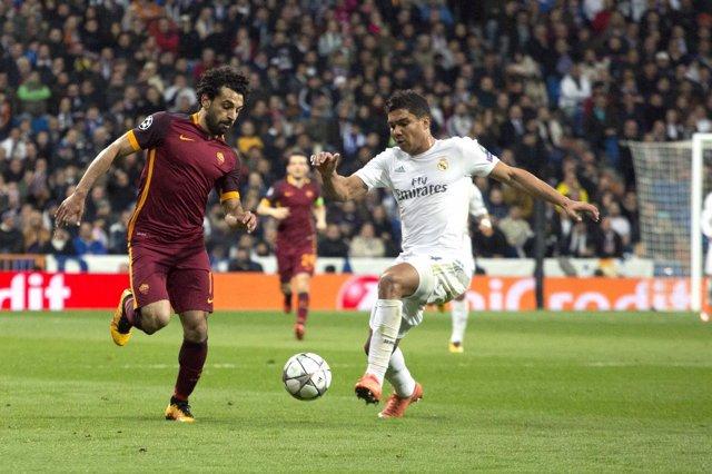Casemiro y Salah en el Real Madrid - Roma