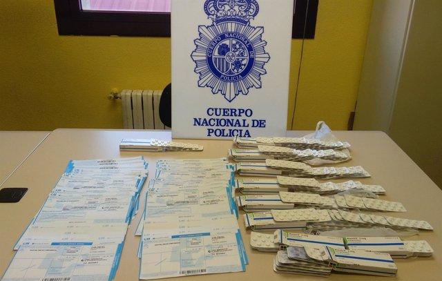 Recetas falsas intervenidas a los detenidos en Palencia