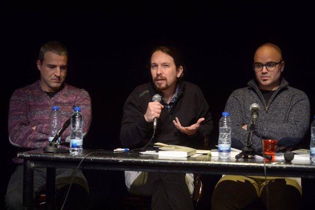 Pablo Iglesias, secretario general de Podemos, en la presentación de un libro