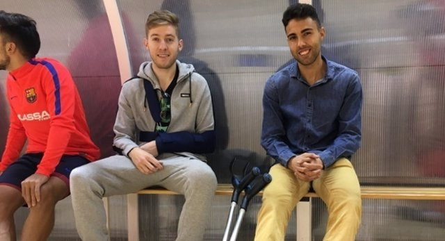 Bateria y Aicardo, jugadores del FC Barcelona Lassa