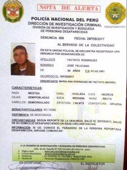 Periodista José Yactayo desaparecido en Perú