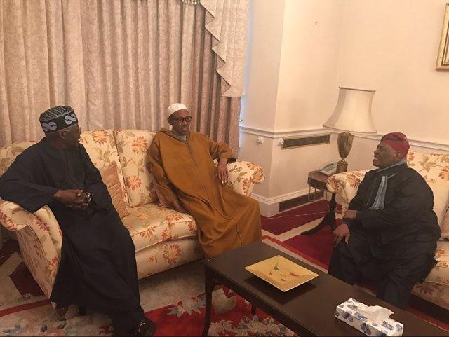 El presidente de Nigeria, Muhammadu Buhari, en una reunión en Londres
