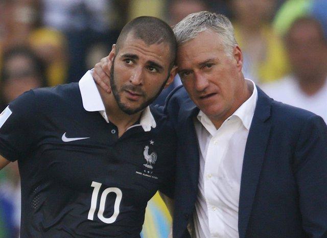 Karim Benzema y Didier Deschamps