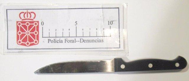 Cuchillo empleado por el detenido para amenazar al conocido