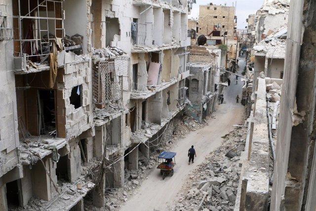 Edificios destruidos en la Ciudad Vieja de Alepo