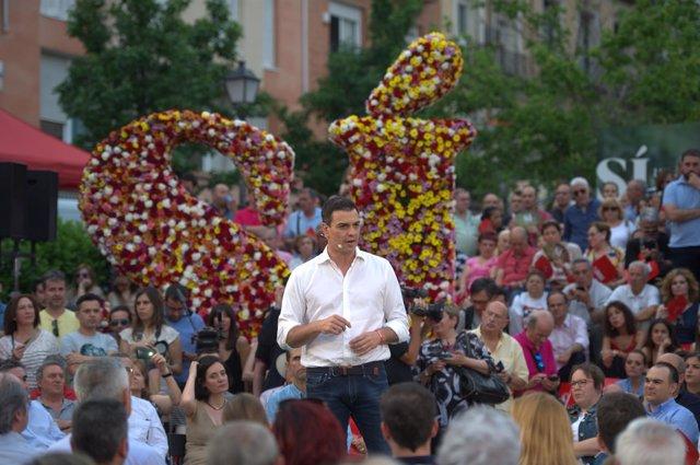 Pedro Sánchez en el mitin de arranque de la campaña electoral