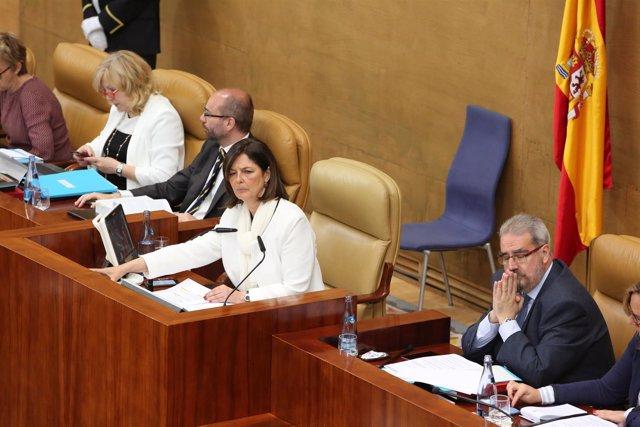 La presidenta de la Asamblea de Madrid, Paloma Adrados, durante un pleno