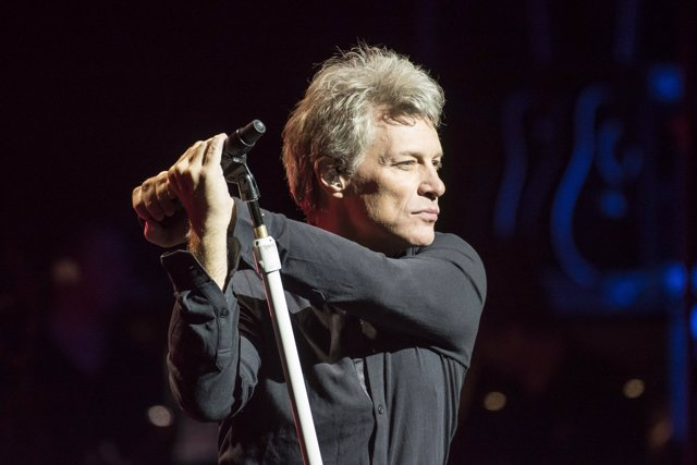 Jon Bon Jovi performs live on stage as Bon Jovi present songs from their new alb