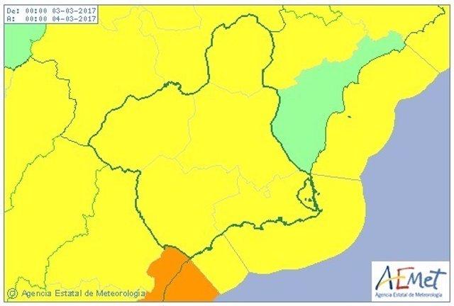 Mapa aviso amarillo por viento y fenómenos costeros
