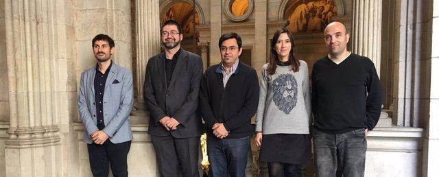 Sergi Campillo, Carlos Sánchez, Gerardo Pisarello, Núria Parlon y Joan Berlanga