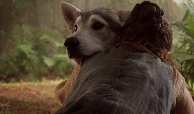 Nymeria con Arya Stark en Juego de Tronos