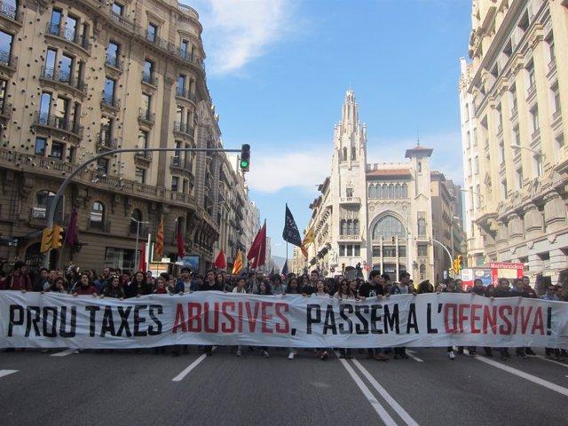 Manifestación de estudiantes universitarios en Barcelona