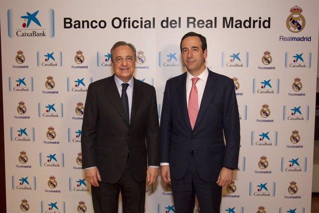 Gonzalo Gortázar y Florentino Pérez firman acuerdo CaixaBank y Real Madrid