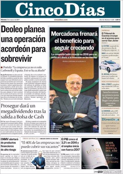 Las portadas de los periódicos económicos de hoy, viernes 3 de marzo