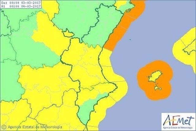Aviso por vientos y fenómenos costeros