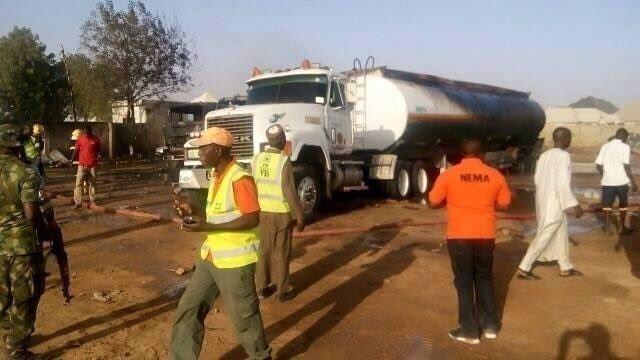 Lugar del triple atentado suicida en Maiduguri