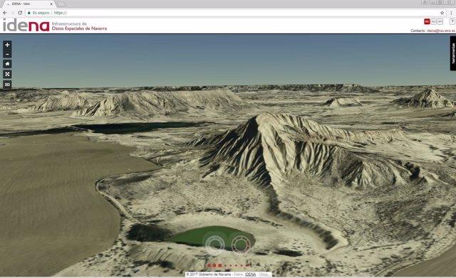 Imagen 3D de las Bardenas en el visor de IDENA