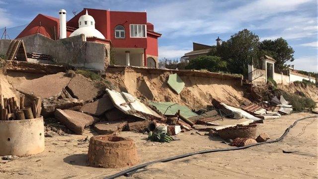 Zona del Portil, en Huelva, dañada por el temporal.