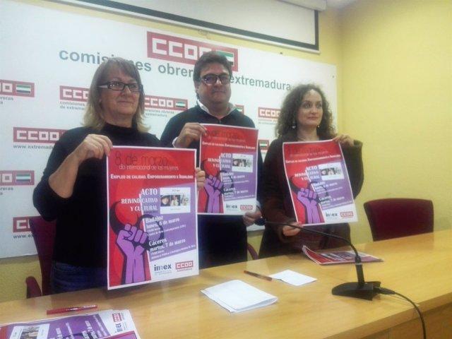 Castro, Carretero y Gala en la presentación del Día de la Mujer