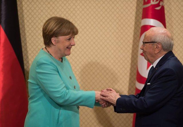 Angela Merkel y Beji Caib Essebsi