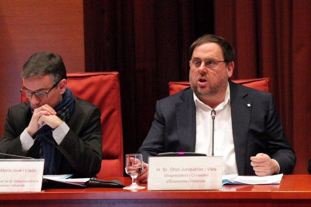 El vicepresidente Oriol Junqueras en comisión parlamentaria