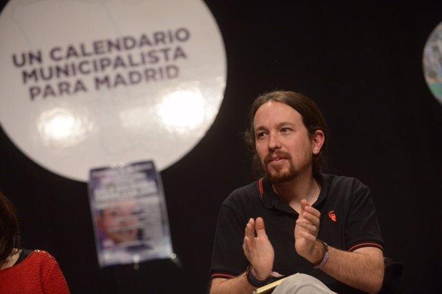 Pablo Iglesias, secretario general de Podemos, en un acto con las bases de Madri