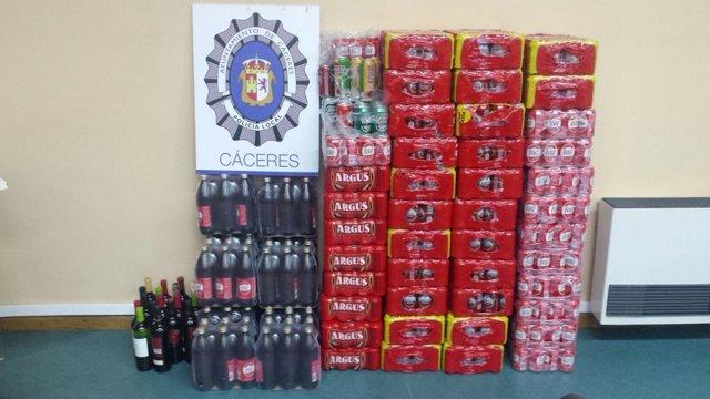 Bebidas alcohólicas intervenidas en Cáceres