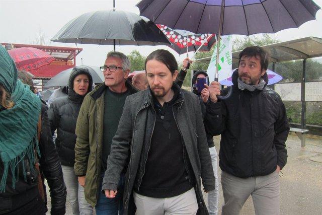 Pablo Iglesias, a su salida de la cárcel de Jaén.