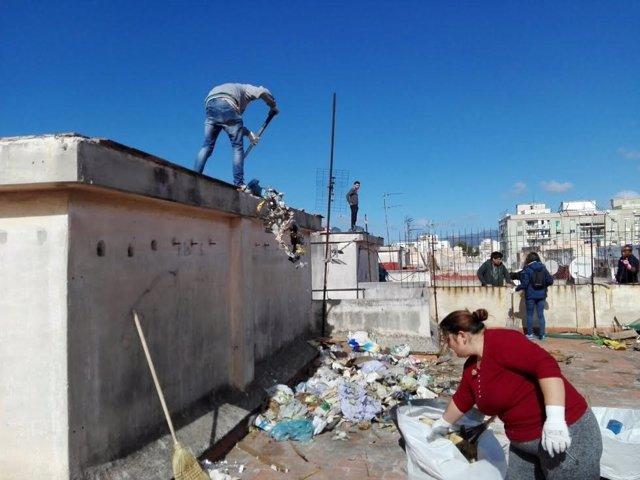 Vecinos de Son Gotleu limpian su finca